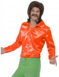 Oranje satijnachtige overhemd voor heren