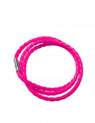 Fluo roze gevlochten armband voor volwassenen