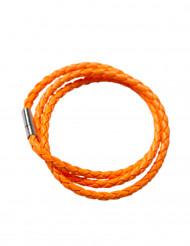 Gevlochten fluo oranje armband voor volwassenen