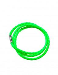 Fluo groene gevlochten armband voor volwassenen