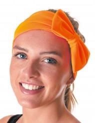 Fluo oranje hoofdband met strik voor volwassenen