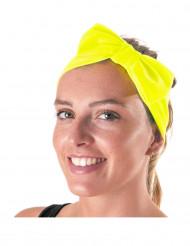 Bandana met fluo gele strik voor volwassenen
