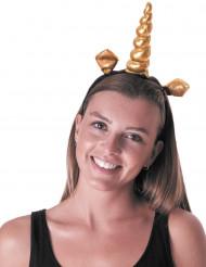 Goudkleurig eenhoorn haarband voor volwassenen