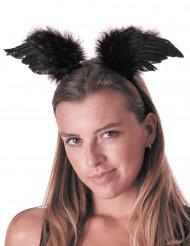 Zwarte engelenvleugels haarband voor volwassenen