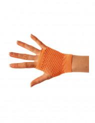 Korte oranje netstof handschoenen voor volwassenen