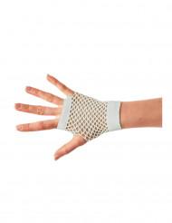 Witte korte netstof handschoenen voor volwassenen