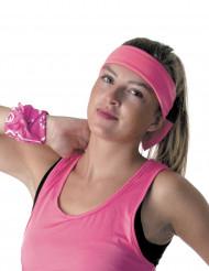 Fluo roze jaren 80 hoofdband voor volwassenen