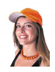 Oranje sportpet met lovertjes voor volwassenen