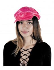 Fluo roze disco glitter hoed voor volwassenen