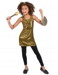 Goudkleurig glitter disco kostuum voor meisjes