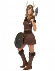 Bruin viking kostuum met helm voor vrouwen