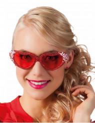 Roze hart bril met strass voor volwassenen