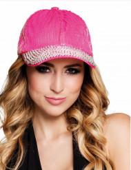 Roze pet met spikes en lovertjes voor vrouwen