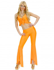 Fluo oranje sexy disco kostuum voor vrouwen