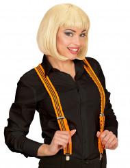 Fluo oranje bretels met plooien voor volwassenen