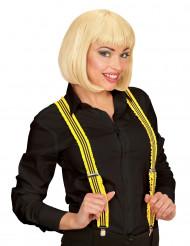 Fluo gele bretels met franjes voor volwassenen