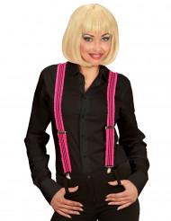 Fluo roze bretels met franjes voor volwassenen