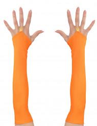 Lange oranje vingerloze handschoenen voor vrouwen