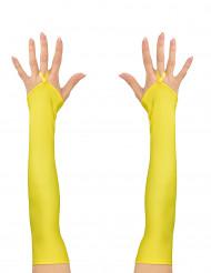 Lange fluo gele handschoenen voor vrouwen
