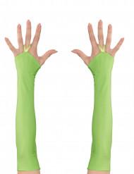 Lange groene vingerloze handschoenen
