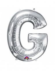 Enorme zilverkleurige letter G ballon