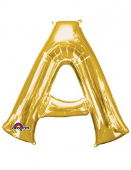 Enorme goudkleurige letter A ballon