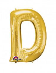 Enorme goudkleurige letter D ballon