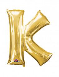 Enorme goudkleurige letter K ballon