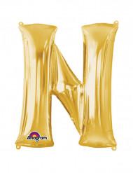 Enorme goudkleurige letter N ballon