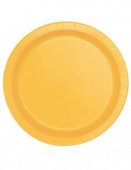 16 kartonnen bordjes zonnebloem geel 22 cm