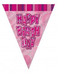 Roze Happy Birthday slinger 2.74 m