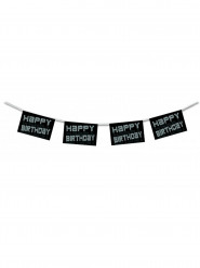 Zwarte en witte Happy Birthday slinger