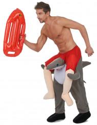 Man op rug van haai kostuum voor volwassenen