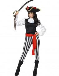 Gestreept piraten kostuum voor vrouwen