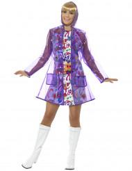 Paarse jaren 60 regenjas voor dames