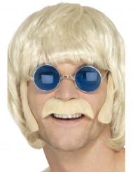Blonde hippie set met snor en bakkebaarden voor mannen