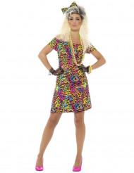 Jaren 80 fluo luipaard kostuum voor vrouwen
