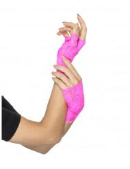 Fluo roze kant handschoenen voor vrouwen