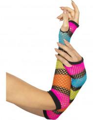 Lange fluo netstof handschoenen voor vrouwen