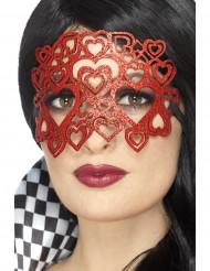 Masker met rode hartjes en glitters voor volwassenen