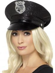 Zwart politie pet met lovertjes voor vrouwen