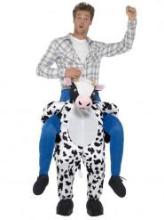 Man op de rug van een koe kostuum voor volwassenen