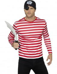 Rood en wit gestreept t-shirt voor volwassenen