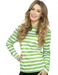 Groen en wit gestreept T-shirt voor dames