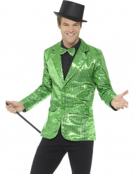 Luxe groen disco jasje met lovertjes voor mannen
