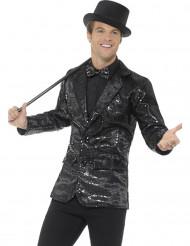 Luxe zwart disco jasje met lovertjes voor mannen
