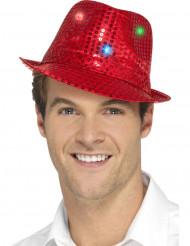 Rode hoed met LED voor volwassenen