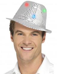 Zilverkleurige hoed met lovertjes en LED lichtjes