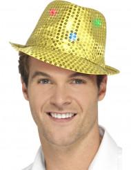 Goudkleurige hoed met LED lichtjes voor volwassenen