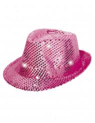 Roze borsalino hoed met lovertjes en LED licht